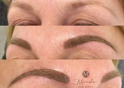 Microblading meteen na de behandeling Mariska van Rooij permanente make-up
